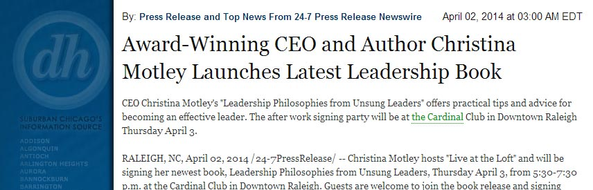 The Daily Herald Announces Christina Motley Leadership Book Release